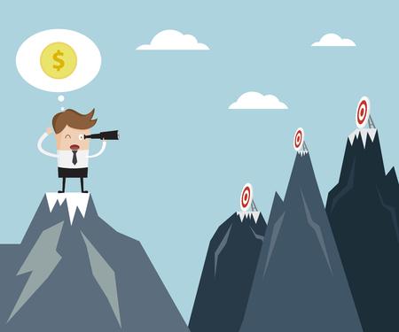 Business Vision Concept, Businessman using binoculars Finding Target On Mountain Cartoon Vector Illustration Vettoriali