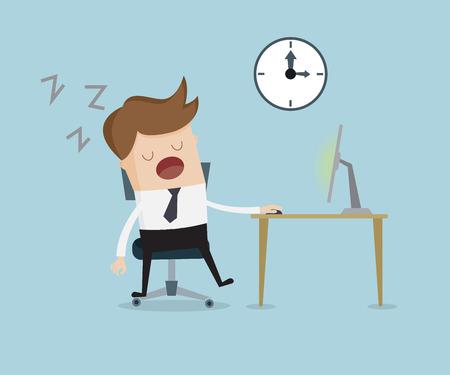 perezoso: hombre de negocios de dormir delante del ordenador en la mesa de trabajo de ilustración vectorial de dibujos animados