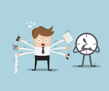 busy office: businessman busy with time business concept cartoon vector illustration