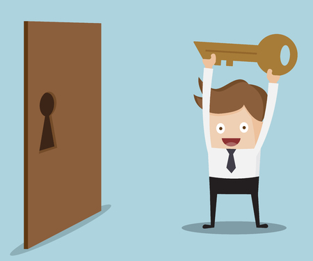 locked door: businessman show key for locked door cartoon vector illustration