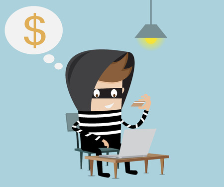 stealing data: thief using fake credit card  for steal money on internet cartoon vector illustration