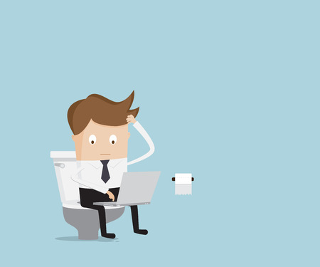 businessman working with laptop in toilet cartoon vector illustration