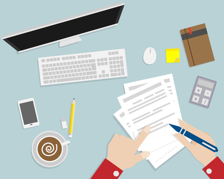 Papel de escribir en espacio de trabajo de la vista superior de diseño plano ilustración vectorial de dibujos animados escritorio de la mano Foto de archivo - 48540909