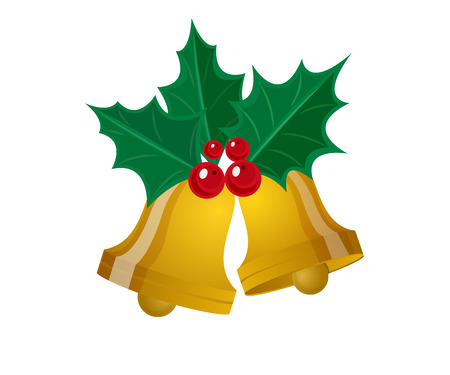 red berries: merry christmas leaf with golden bell vector illustration