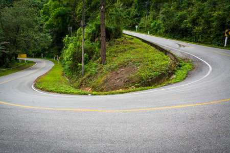 curve road on mountain in chiangmai northern of thailand