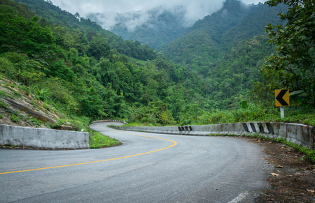 curve road: curve road on mountain in chiangmai northern of thailand