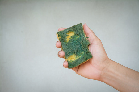 old dirty dish washing sponge in human hand on gray background