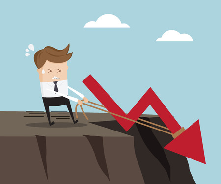 pull up: business concept, businessman pull up rope  for stop down red arrow graph on high cliff