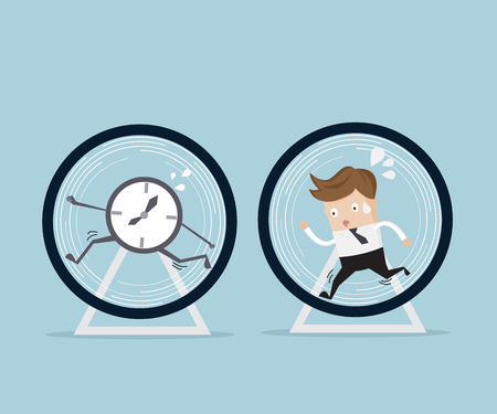 business concept, businessman and time running in hamster wheel cartoon illustration Vettoriali