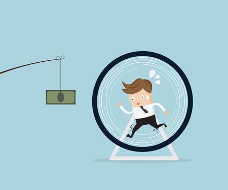 concepto de negocio, hombre de negocios que se ejecuta en la rueda de hámster de captura dinero ilustración de dibujos animados
