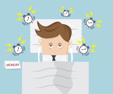 perezoso: hombre de negocios perezoso en la cama en la ma�ana del lunes con la ilustraci�n de dibujos animados reloj de alarma