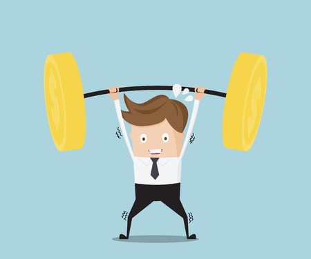 heavy weight: business concept, businessman lifting heavy weight money coin