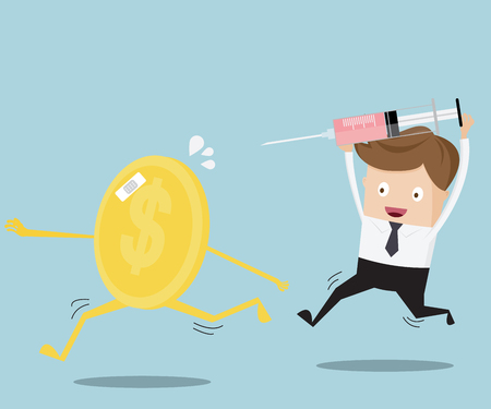 health check: business concept, financial health check businessman running for injection coin Illustration