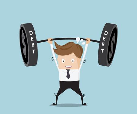 heavy weight: businessman lifting heavy weight debt cartoon