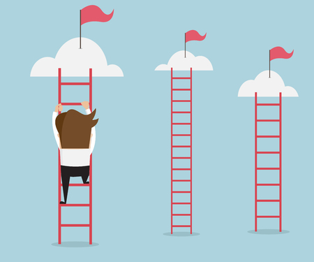 climbing ladder: businessman climbing the ladder for red flag, business success concept cartoon illustration
