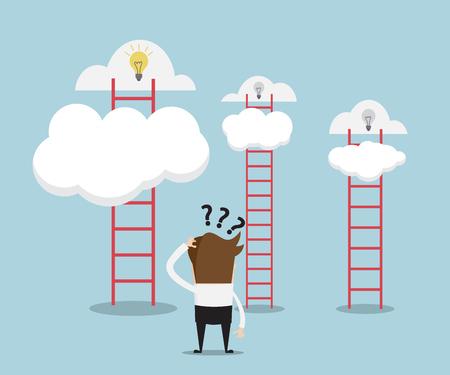 confundido: Hombre de negocios confuso para elegir escalera para nueva idea, el éxito del negocio concepto de ilustración de dibujos animados Vectores