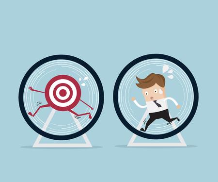 rat race: business concept,businessman running for target in hamster wheel cartoon illustration