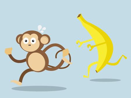 run away: monkey run away from big banana cartoon vector illustration