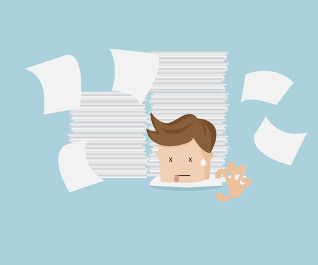 work stress: businessman under stack of document cartoon vector illustration