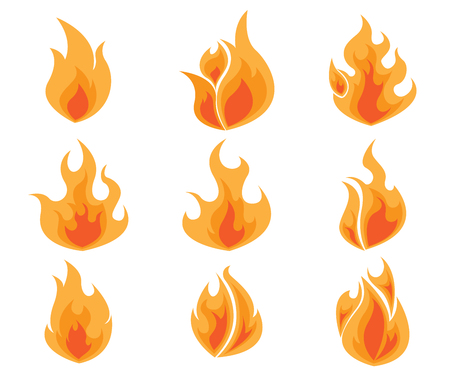Set of Fire, Flames Icon Vector Illustration