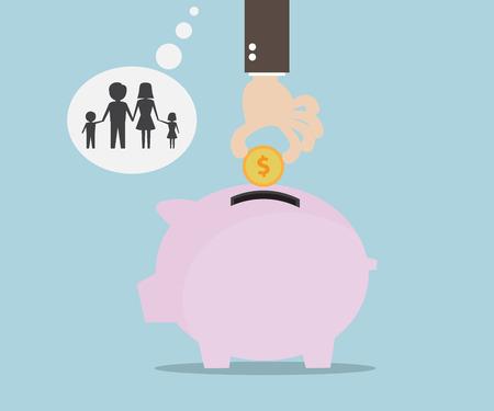 Hand Saving Money for Family, Money Saving Concept Flat Design Vector Illustration