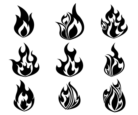 flames icon: Set of Fire, Flames Icon In Black and White Color Vector Illustration Illustration
