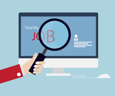 job search: Job Searching, Job Seeking with Magnifying Glass Online Concept Vector Illustration