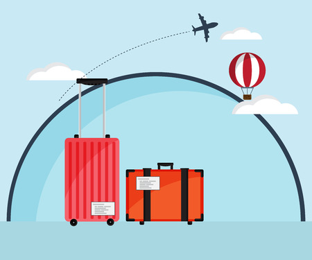 travel bag: Travel Bag, Luggage with Air Plane and Hot Air Balloon Flat Design Vector Illustration