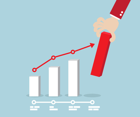 putting: Business Concept, Hand Putting Red Up Graph Vector Illustration