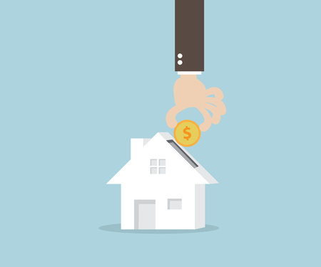 putting: Business Concept, Hand Putting Money Coin Into Home Vector Illustration