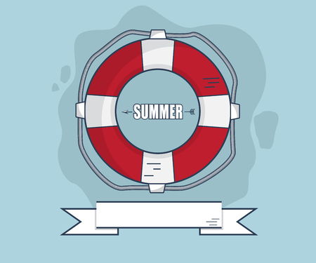 life bouy: Life Bouy In Summer With Ribbon Flat Design Vector Illustration