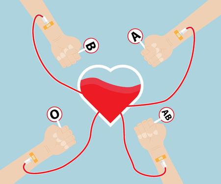 blood bag: Donate Blood To Heart Shape Vector Illustration