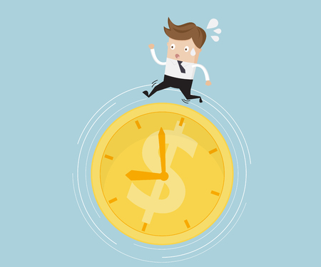 Businessman Running on Money Coin Clock, Time is Money Concept Vector Illustration