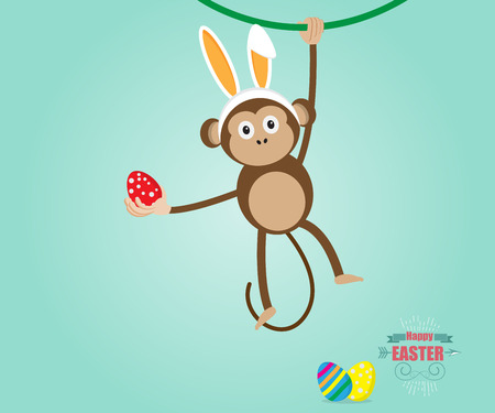 year of the rabbit: Monkey Wearing Rabbit Ears and Hold Easter Egg In Hand, Happy Easter, Year of Monkey Vector Illustration