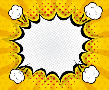 blank bomb: abstract boom blank speech bubble pop art, comic book on yellow  background vector illustration