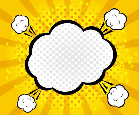 blank bomb: abstract boom blank speech bubble pop art, comic book on yellow background vector illustration Illustration