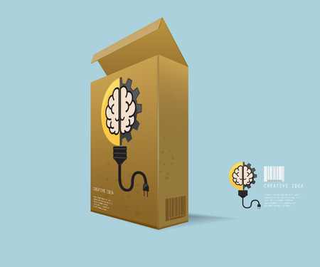 gear box: Creative Idea In Package, Instant Idea in Recycle Box with Light Bulb with Cog Gear Wheel and Brain Creative Idea Concept Vector Illustration