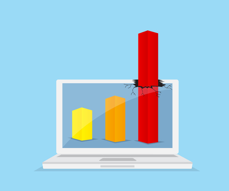 record breaking: up red graph breaking through from monitor laptop, business success concept vector illustration