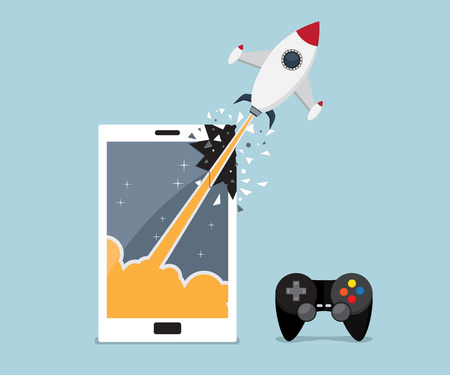 breaking through: mobile, smartphone gaming application concept, rocket breaking through from mobile, smartphone screen vector illustration
