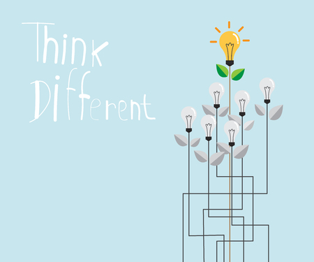 different idea: think different with fresh bulb idea, think different concept