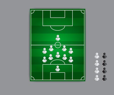 tactics: fail formation tactics vector type 5:4:1 Illustration