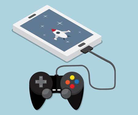 mobile application: game, application on mobile, smartphone connect with joystick, mobile game and application  concept vector illustration