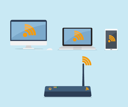 laptop mobile: wifi router connected with device, computer, laptop, mobile smartphone with wifi icon flat design vector illustration
