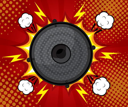 loud speaker: abstract speaker loud pop art, comic book flat design   background