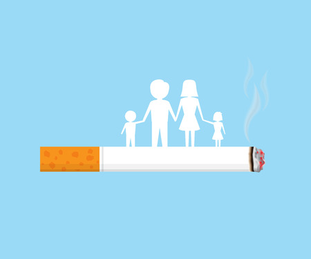 smokers: family waiting for destroying from cigarette smoke, tobacco vector illustration Illustration