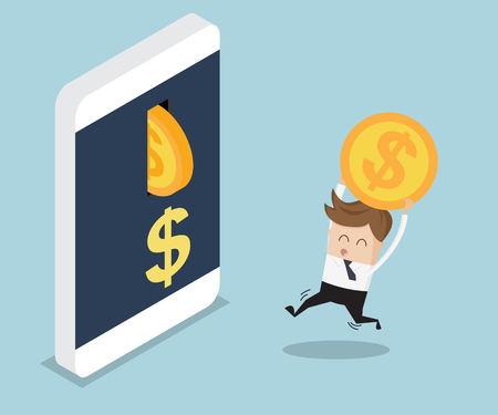 put: businessman put coin into mobile banking, cartoon vector illustration