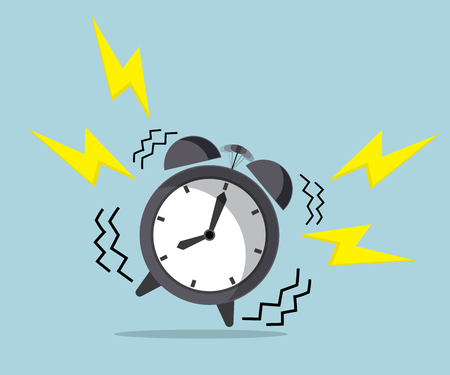 up time: wake up time, ringing alarm clock vector illustration