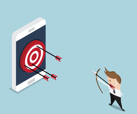 smart goals: businessman hit target on mobile with arrow, mobile marketing concept vector illustration
