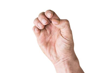 main droite avec les doigts et les ongles sales isoler Banque d'images