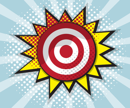 dart board: dart board target, comic speech bubble, pop art design background vector illustration Stock Photo
